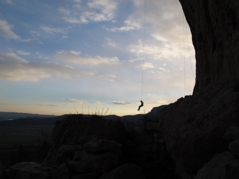 Adam lowering off at sunset